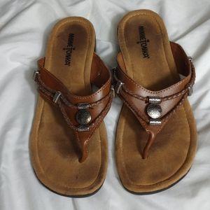 Minnetonka Moccasins leather upper sandals